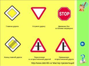 Главная дорога Уступите дорогу Движение без остановки запрещено Конец главной
