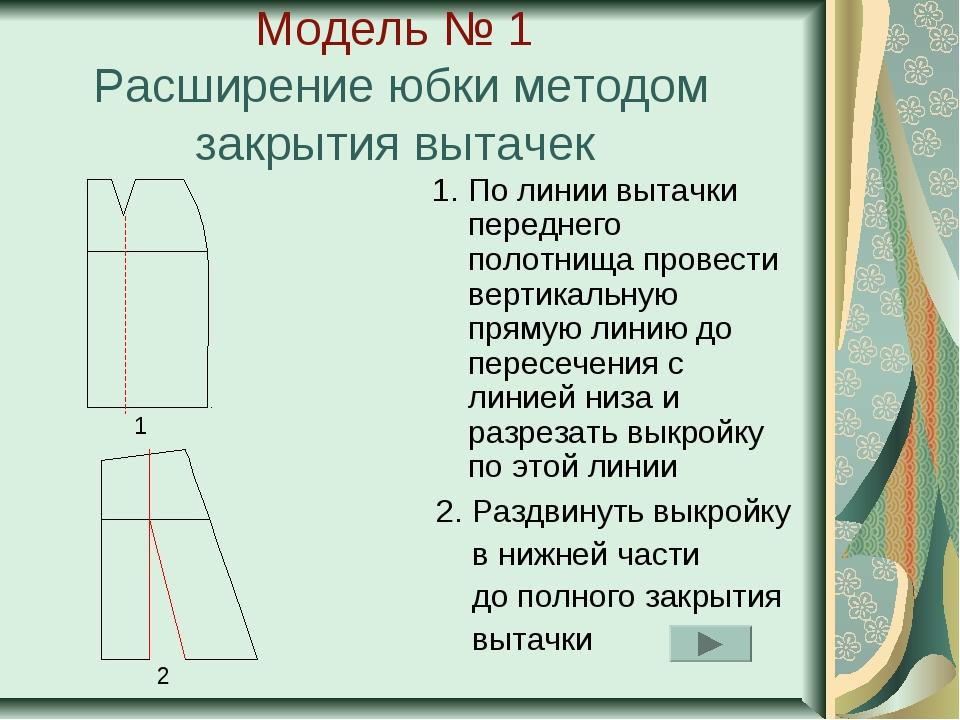 Модель № 1 Расширение юбки методом закрытия вытачек 1. По линии вытачки перед...