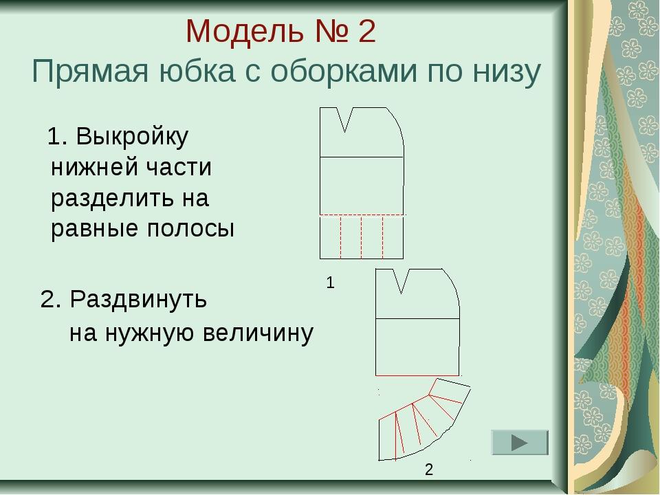 Модель № 2 Прямая юбка с оборками по низу 1. Выкройку нижней части разделить...