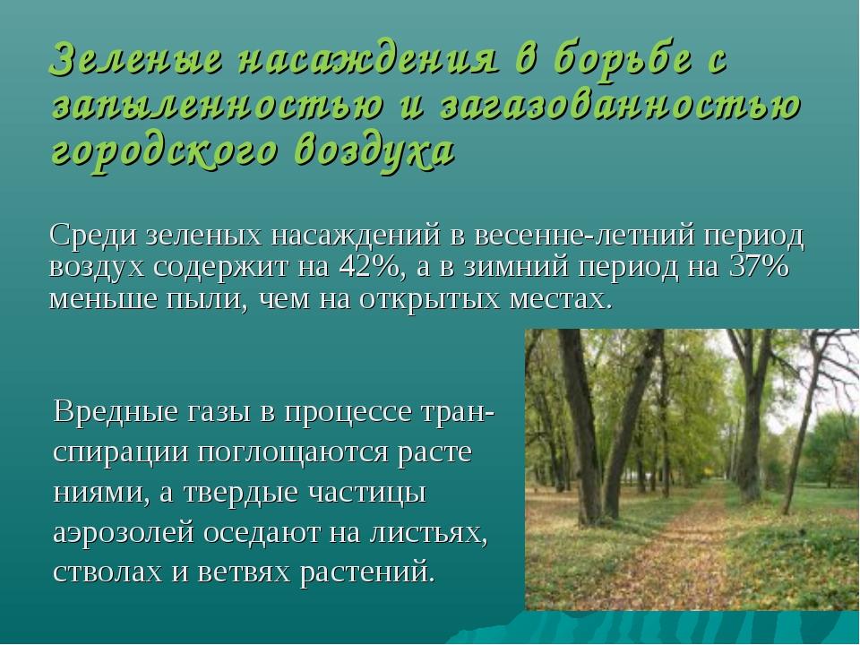 Зеленые насаждения в борьбе с запыленностью и загазованностью городского возд...