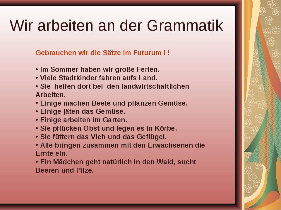 Wir arbeiten an der Grammatik Gebrauchen wir die Sätze im Futurum I ! Im Somm...