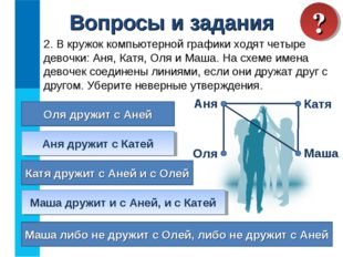 Вопросы и задания 2. В кружок компьютерной графики ходят четыре девочки: Аня,