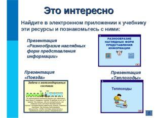 Это интересно Найдите в электронном приложении к учебнику эти ресурсы и позна