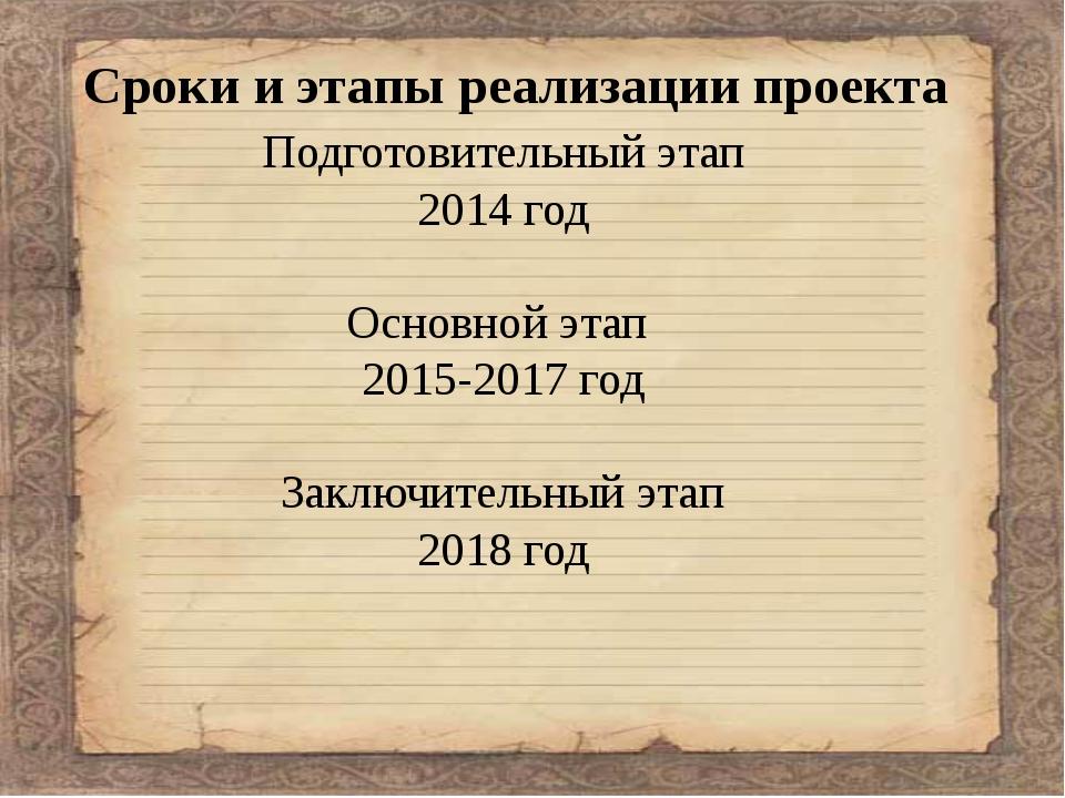 Сроки и этапы реализации проекта Подготовительный этап 2014 год Основной эта...