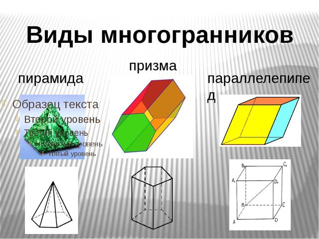 пирамида призма параллелепипед Виды многогранников