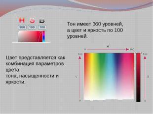 Цвет представляется как комбинация параметров цвета: тона, насыщенности и ярк