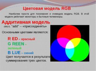 """Аддитивная модель англ. """"add"""" – «присоединять» R ED – красный G REEN – зелены"""