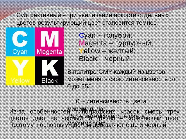 Субтрактивный - при увеличении яркости отдельных цветов результирующий цвет с...