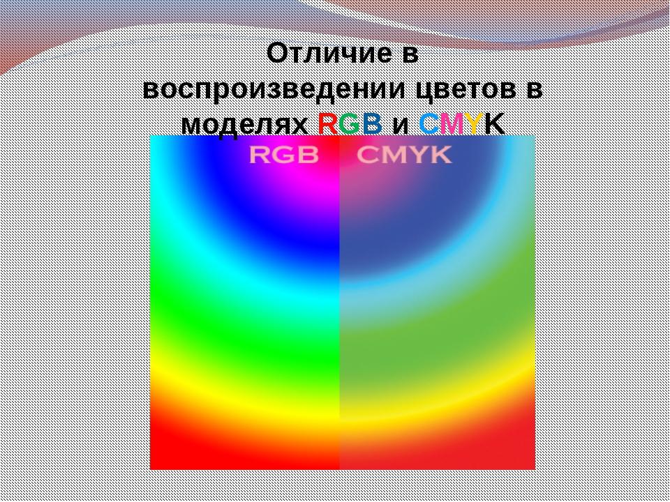 Отличие в воспроизведении цветов в моделях RGB и СMYK