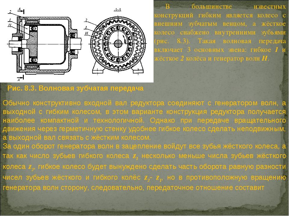 В большинстве известных конструкций гибким является колесо с внешним зубчатым...