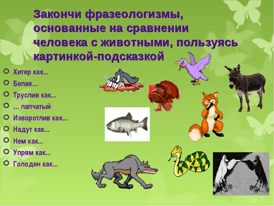 Закончи фразеологизмы, основанные на сравнении человека с животными, пользуяс...