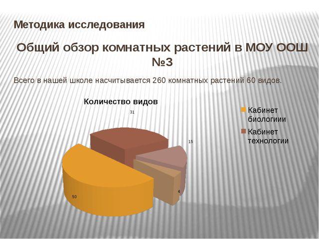 Методика исследования Общий обзор комнатных растений в МОУ ООШ №3 Всего в наш...