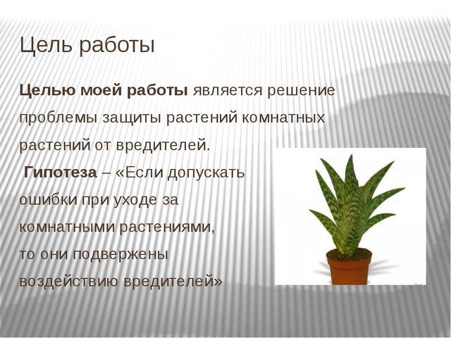 Цель работы Целью моей работыявляется решение проблемы защиты растений комна...