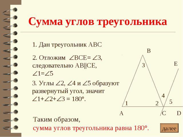 Сумма углов треугольника * 1. Дан треугольник АВС 2. Отложим ВСЕ= 3, следов...