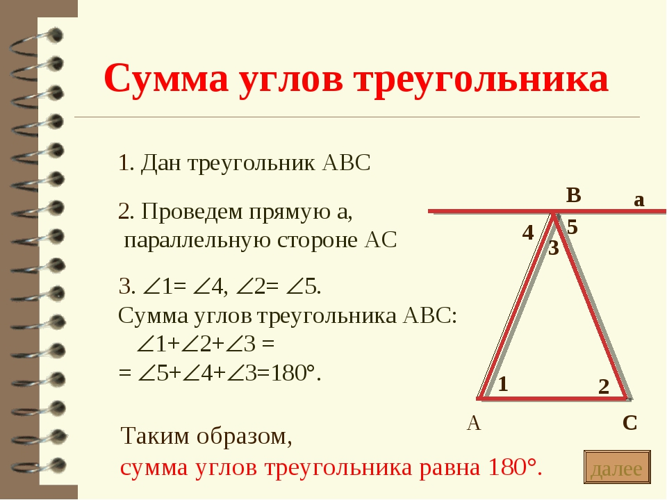 Сумма углов треугольника * 1. Дан треугольник АВС 2. Проведем прямую а, парал...