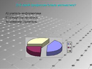 2) К какой профессии ближе математика? А) учитель информатики Б) кондуктор а