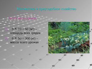 Математика и приусадебное хозяйство 1) 5 × 10 = 50 (м²) – площадь всех грядо