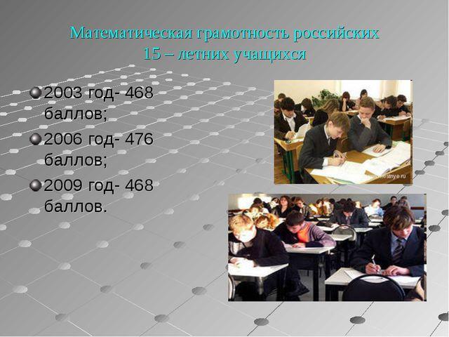 Математическая грамотность российских 15 – летних учащихся 2003 год- 468 бал...