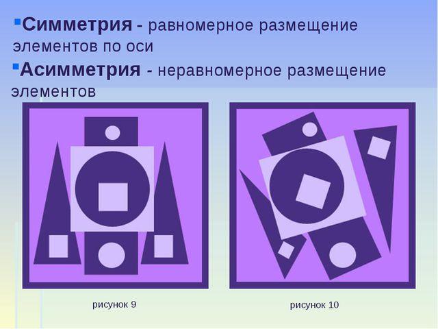 рисунок 9 рисунок 10 Симметрия - равномерное размещение элементов по оси Асим...