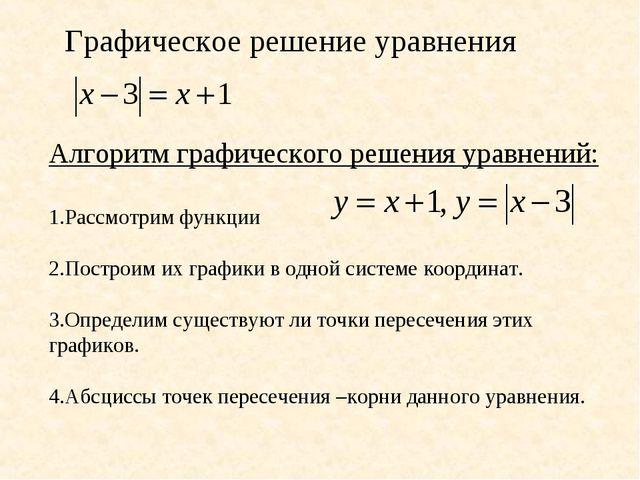 Графическое решение уравнения Алгоритм графического решения уравнений: 1.Расс...