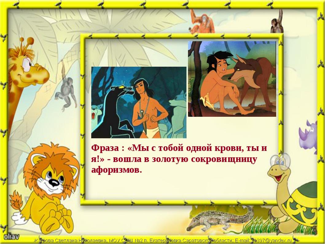 Фраза : «Мы с тобой одной крови, ты и я!» - вошла в золотую сокровищницу афор...
