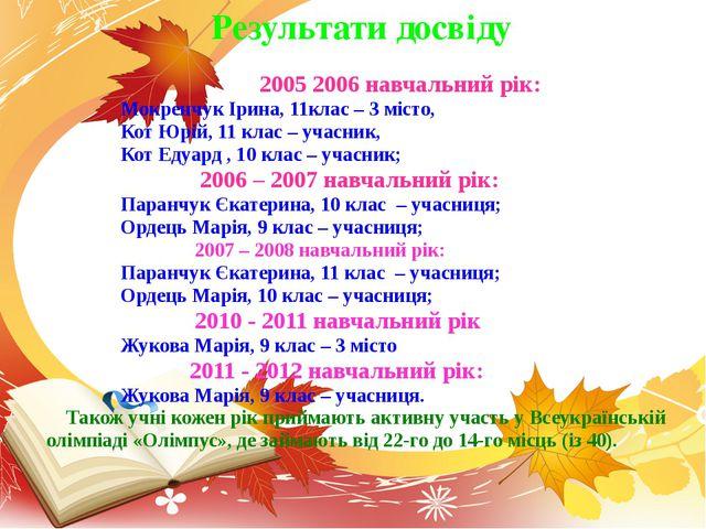 2005 2006 навчальний рік: Мокренчук Ірина, 11клас – 3 місто, Кот Юрій, 11 кл...