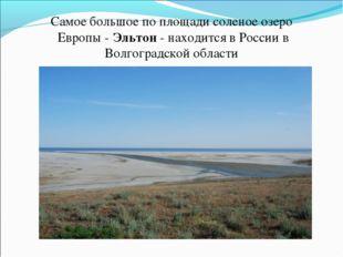 Самое большое по площади соленое озеро Европы - Эльтон - находится в России