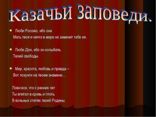 Люби Россию, ибо она Мать твоя и ничто в мире не заменит тебе ее. Люби Дон, и