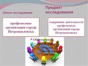 Объект исследования Предмет исследования профсоюзные организации города Петро