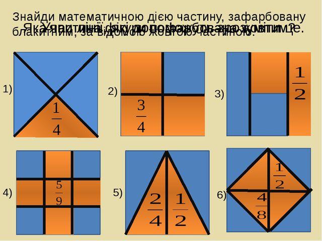 Яка частина фігури пофарбована жовтим? Знайди математичною дією частину, зафа...