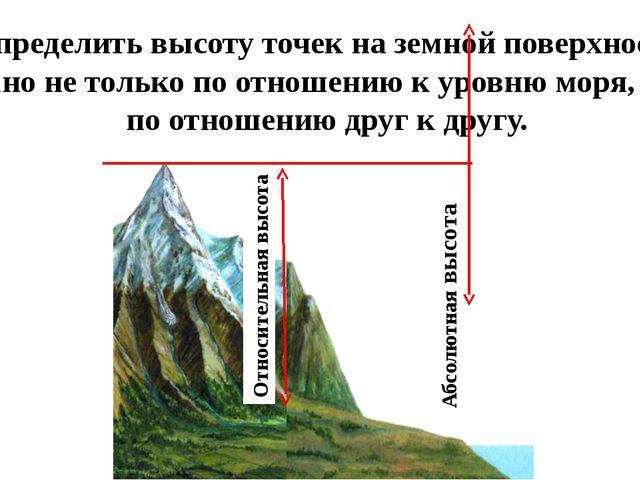 Определить высоту точек на земной поверхности можно не только по отношению к...