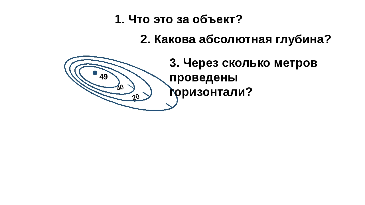 49 40 20 2. Какова абсолютная глубина? 1. Что это за объект? 3. Через скольк...