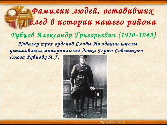 Фамилии людей, оставивших след в истории нашего района Рубцов Александр Григо...