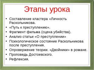 Этапы урока Составление кластера «Личность Раскольникова. «Путь к преступлени
