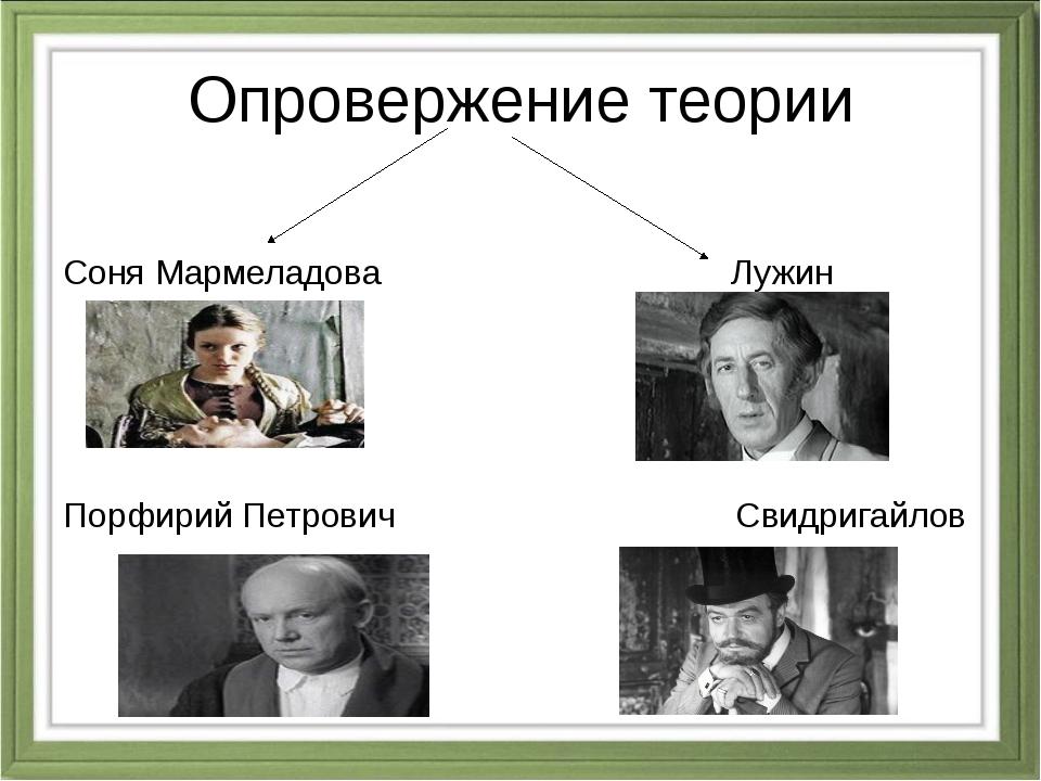 Опровержение теории Соня Мармеладова Лужин Порфирий Петрович Свидригайлов