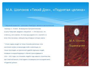 * Вершиной романа М.А. Шолохова «Тихий Дон» являются заключительные страницы