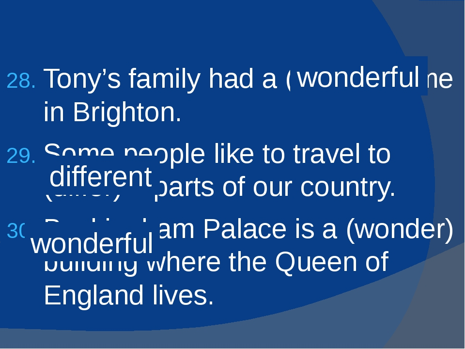 Tony's family had a (wonder) time in Brighton. Some people like to travel to...