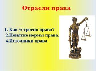 Отрасли права 1. Как устроено право? 2.Понятие нормы права. 4.Источники права