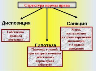 Структура нормы права Собственно правила поведения Перечень условий, при кото