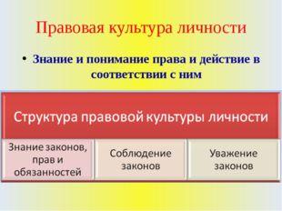 Правовая культура личности Знание и понимание права и действие в соответствии