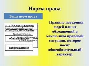 Норма права Правило поведения людей или их объединений в какой-либо правовой