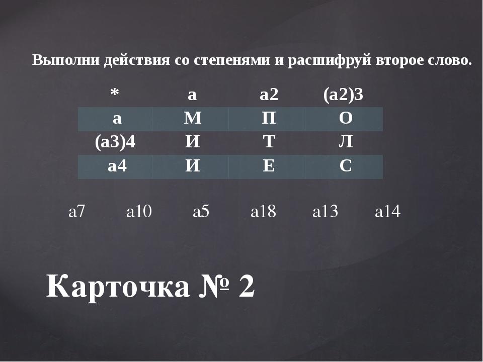 Карточка № 2 Выполни действия со степенями и расшифруй второе слово. * а а2 (...