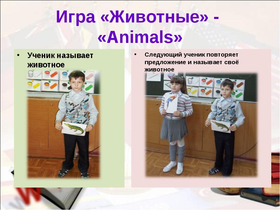 Игра «Животные» - «Animals» Ученик называет животное Следующий ученик повторя...