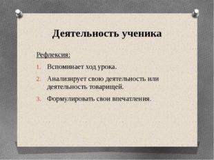 Деятельность ученика Рефлексия: Вспоминает ход урока. Анализирует свою деятел