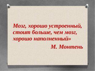 Мозг, хорошо устроенный, стоит больше, чем мозг, хорошо наполненный» М. Монт