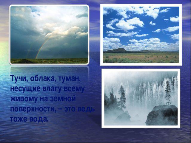 Тучи, облака, туман, несущие влагу всему живому на земной поверхности, – это...
