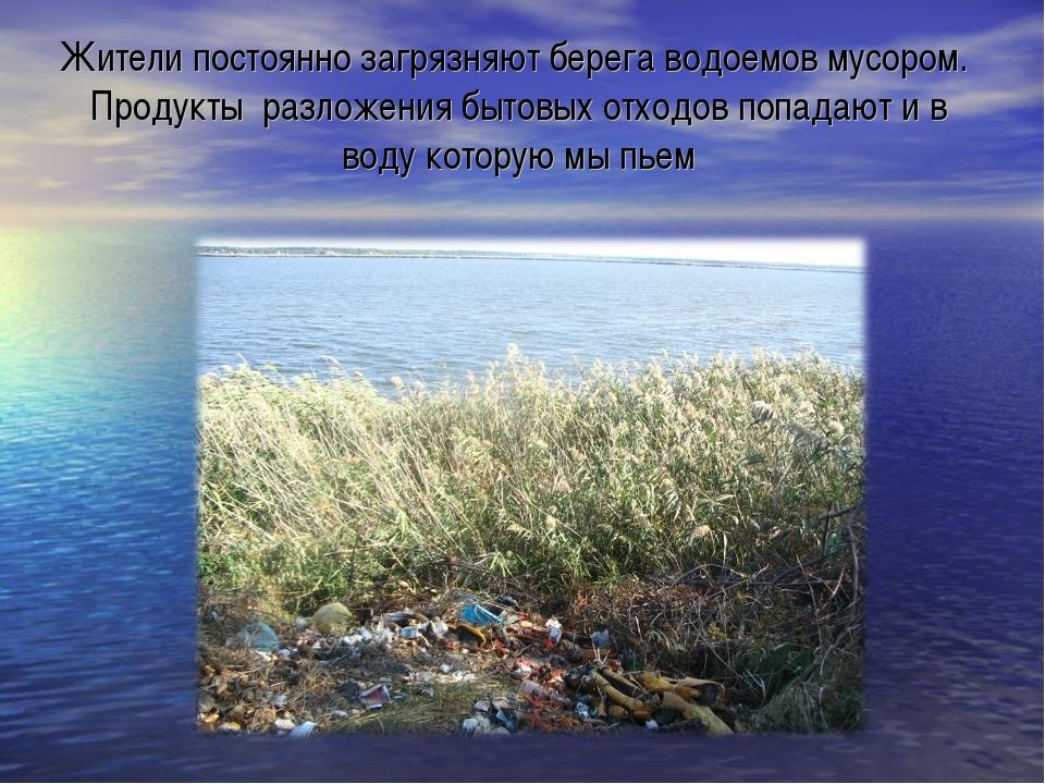 Жители постоянно загрязняют берега водоемов мусором. Продукты разложения быто...