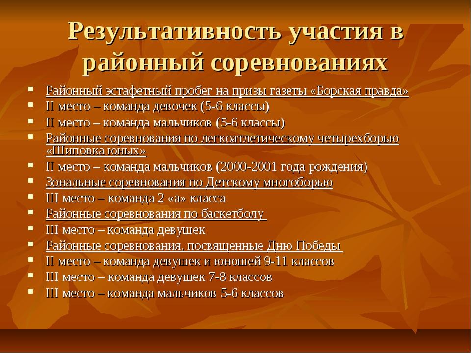 Результативность участия в районный соревнованиях Районный эстафетный пробег...