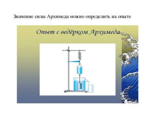 Значение силы Архимеда можно определить на опыте