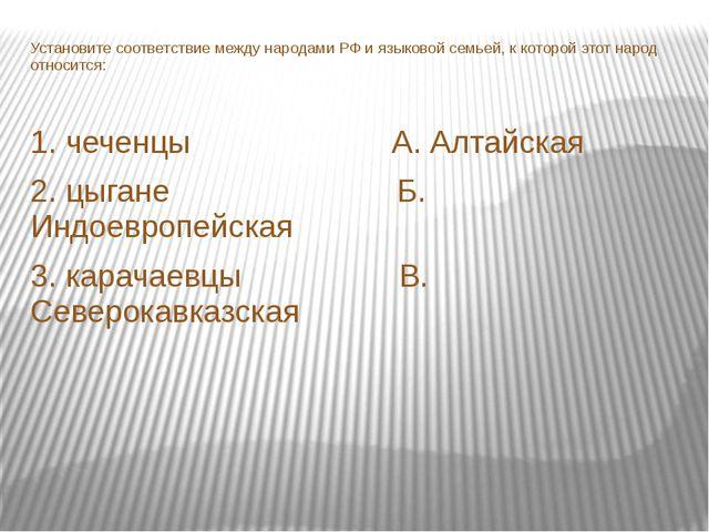 Установите соответствие между народами РФ и языковой семьей, к которой этот н...